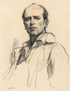 Ivor Hele Self portrait. - New Pin Self Portrait Drawing, Portrait Sketches, Pencil Portrait, Portrait Art, Drawing Sketches, Art Drawings, Portraits, Figure Drawing, Painting & Drawing
