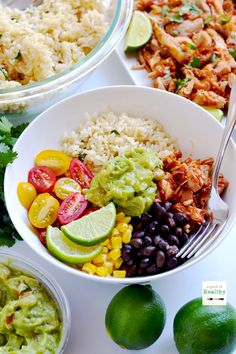 You can make your own chicken burrito bowls, and they are even better than Chipotle! This recipe uses my easy Mexican shredded chicken.
