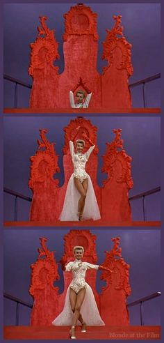 """Vera Ellen in White Christmas (1954), rehearsal scene and the song """"Mandy"""", costumes designed by Edith Head."""