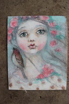 original girl child shabby floral bird portrait by fadedwest, $39.00