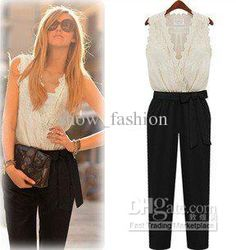 Wholesale Jumpsuits & Union Suits - Buy Summer Fashion Women Jumpsuit Tank Sleeveless Overall Ladies' Casual Jumpsuits Black Pants Rompers White Lace Top Belt Plus Size, $51.14 | DHgate