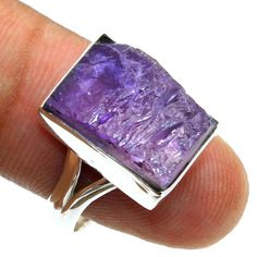 ROUGH GEMSTONE- 925 Sterling Silver Purple Amethyst Ring jewelry Size US 7 #Unbranded #Ring #Anniversary