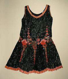 Beaded silk evening dress, French, 1926