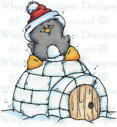 Penguin & Igloo - Penguins - Animals - Rubber Stamps - Shop