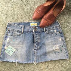 Selling this Hollister Mini Distressed Jean Skirt on Poshmark! My username is: bohowanderlust. #shopmycloset #poshmark #fashion #shopping #style #forsale #Hollister #Dresses & Skirts