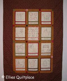 Ellie's Quiltplace - Country Calender BOM - Embroidered Version