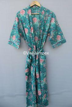 Kimono Dress, Kimono Jacket, Hand Printed Fabric, Printed Cotton, Cotton Kimono, Bridesmaid Robes, Women Sleeve, Collar Styles, Types Of Sleeves