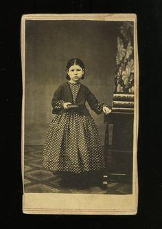 CDV Civil War Era Young Girl in Polka Dot Dress   eBay