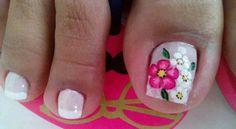 Flower Nail Designs, Pedicure Designs, Pedicure Nail Art, Toe Nail Designs, Toe Nail Art, Hot Nails, Hair And Nails, Spring Nails, Summer Nails