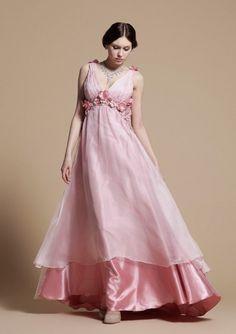 A-line V-neck Empire Floor-length Backless Chiffon Prom Dresses