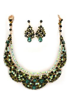 Collier Crystal Statement Necklace Set in Emerald