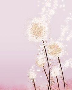 Dandelion Artwork - Perennial Moment (pink) - 8x10 Print - Modern Floral. $18.00, via Etsy.