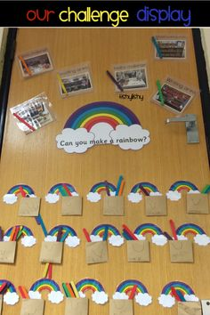 My Rainbow Challenge display. Year 2 Classroom, Ks1 Classroom, Early Years Classroom, Classroom Design, Classroom Setup, Reception Classroom Ideas, Reception Ideas, Class Displays, School Displays
