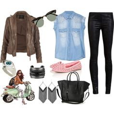 stylish biker by valeria-soledad on Polyvore featuring moda, AllSaints, Helmut Lang, Jules Smith, DANNIJO, ASOS, Ray-Ban, flatform shoes, bleached denim and motorcycle jackets