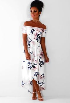 f3a5b6a8edf88 Jamaica Goddess White Floral Bardot Maxi Dress | Pink Boutique Bardot Dress,  Sweet 16 Dresses. Pink Boutique UK