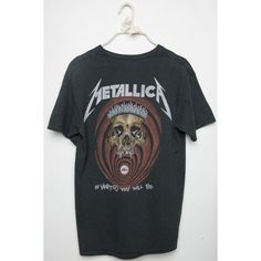 METALLICA Tee (110 RON) ❤ liked on Polyvore featuring tops, t-shirts, gray tees, grey tee, grey t shirt, gray top and graphic tops