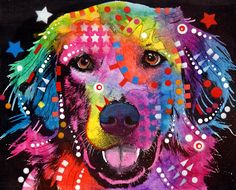 dean Russo Painting Dog Dogs Portrait Graffiti pop Art Pet golden Retriever Golden Retriever Painting - Golden Retriever by Dean Russo Art Pop, Wassily Kandinsky, Cool Vintage, Graffiti, Dean Russo, Pet Mat, Framed Prints, Art Prints, Canvas Prints
