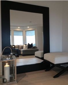 Home Room Design, Interior Design Living Room, Living Room Designs, Living Room Decor, House Design, House Rooms, Bench, Home Decor, Mirrors