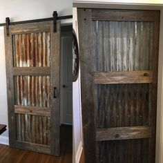 Sliding Barn Door Ideas - Andy came into Rustic Revival Barnwood and bought a do. - - ideas master rustic country Sliding Barn Door Ideas – Andy came into Rustic Revival Barnwood and bought a do… Rustic Doors, Wood Doors, Pine Doors, Rustic Walls, Rustic Bedrooms, Reclaimed Barn Wood, Porte Diy, Barn Door Designs, Metal Barn