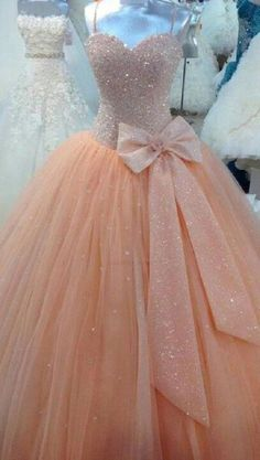 Cheap ball gowns quinceanera dresses, Buy Quality sweet 16 dresses directly from China quinceanera dresses Suppliers: Peach Tulle Ball Gown Quinceanera Dresses Real Image Spaghetti Corset Cheap Sweet 16 Dress with Bow Size Pageant Gowns Quinceanera Dresses Peach, Glitter Prom Dresses, Quince Dresses, 15 Dresses, Pretty Dresses, Formal Dresses, Dress Prom, Formal Prom, Evening Dresses