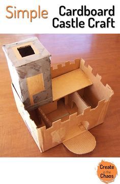Tons of fun and easy to make - simple cardboard castle craft playset www.createinthechaos.com