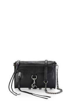 Rebecca Minkoff Mini M. Crossbody Bag in Black Rebecca Minkoff Handbags, Purse Styles, Black Cross Body Bag, Leather Crossbody, Crossbody Bags, Purses, Mac Mini, Fashion Spring, Teen Fashion