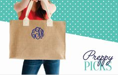 Perfect and preppy to take along anywhere - our natural burlap, monogrammed tote is the ideal size for any of your toting needs! Pair with our Burlap Monogrammed Zip Pouch to help organize any accesso