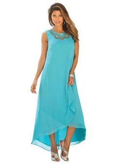 Plus Size Embellished Maxi Dress, dress is plain but interesting, necklace and bracelet, would be easy to toss on a jean jacket.