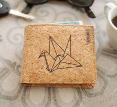 men cork wallet  origami bird by Spapla on Etsy