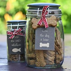 Hand Baked Dog Biscuits In Storage Jar - gifts for pets