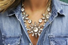 Loving this trend of rhinestone necklaces and denim. LOVE!