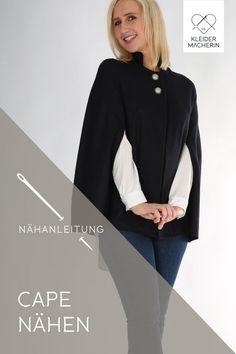 Was ziehe ich in der Übergangszeit statt einer Jacke oder Mantel an? Yes. Mit einem Cape bist du voll im Trend! Einfach selber nähen mit diesem Schnitt und einer Videoanleitung! Jetzt ansehen! Gothic Mode, Love Vintage, Trends, Love Sewing, Bomber Jacket, Sweatshirts, Blouse, Sweaters, Tops