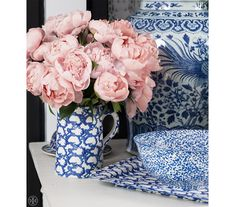 Blue and white and pink peonies - Tory Burch