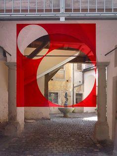 Installation by Felice Varini, Lindau, Germany