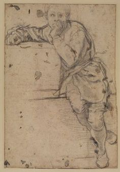 Jacopo Pontormo 1494-1557, Seated Youth, c. 1525, black chalk on paper