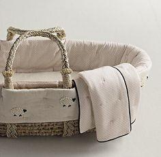 Cloud Sheep Nursery Bedding Restoration Hardware | Hand knotted Moses basket RH…