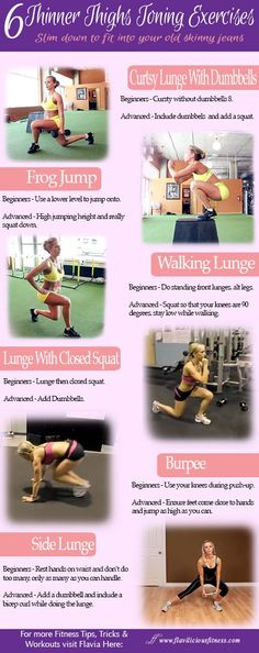 Wednesday Workout – 6 Thinner Thighs Toning Exercises Best Thigh Tightening Exercises Exercise Alone Lose Weight 6 Thinner Thighs Toning E. Thigh Toning Exercises, Toning Workouts, Exercise Workouts, Workout Ideas, Hiit Workout Plan, Interval Workouts, Thigh Workouts, Daily Exercise, Core Exercises