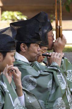 Japanese ancient court music Gagaku players at Yamato shrine, Japan