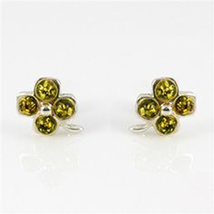 Four Leaf Clover Silver And Green Amber Earrings