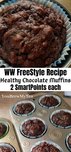 Recipes For 2 Everyone loves these Healthy Chocolate Muffins! So easy to make and only 2 SmartPoints per muffin on the WW FreeStyle Plan! A great dessert or breakfast recipe that is simple, fast, and easy! Great make ahead meal that freezes beautifully! Weight Watcher Desserts, Weight Watcher Muffins, Weight Watcher Banana Bread, Plats Weight Watchers, Weight Watchers Breakfast, Weight Watchers Meals, Healthy Recipes, Ww Recipes, Muffin Recipes