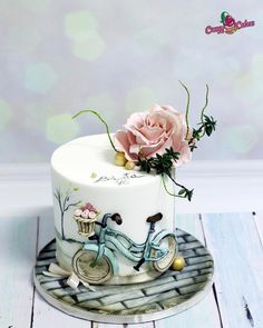 cake for grandma - cake by crazycakes Grandma Birthday Cakes, Grandma Cake, Baby Birthday Cakes, Birthday Cupcakes For Women, 70th Birthday, Beautiful Birthday Cakes, Beautiful Cakes, Amazing Cakes, Bicycle Cake