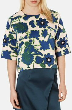 Topshop 'Floral X-Ray' Embellished Print Satin Top available at #Nordstrom