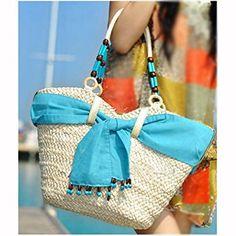 Creativelife® Handmade Straw Bag Beach Tote Shoulder Bag For Women,Sky Blue