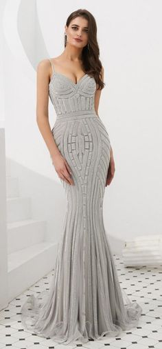 Gorgeous Mermaid Beaded Grey Formal Dress f701b459be63