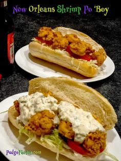 "It may not be the official sandwich of New Orleans, but the Po 'Boy is as much a New Orleans tradition as is jambalaya and gumbo. Start with a Po 'Boy Roll, add fried shrimp and the ""fixin's"", and you have the perfect Shrimp Po 'Boy. Cajun Recipes, Fish Recipes, Seafood Recipes, Cooking Recipes, Recipies, Cajun Food, Vegan Recipes, Shrimp Po Boy, Fried Shrimp"