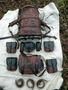 12 You are in the right place about Bushcraft Camping cold weather Here we offer you the most beauti Leather Armor, Leather Tooling, Leather Bags, Leather Backpack, Larp, Crea Cuir, Steampunk Accessoires, Sac Week End, Bug Out Bag