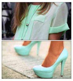 cheer shirt + cute heels!