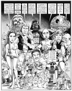 This is my recreation of the Star Wars splash page, from Mad magazine by the legendary Mort Drucker.Brush, india ink, and grey wash on MORT DRUCKER Mad Star Wars recreation Best Comic Books, Comic Books Art, Comic Art, Comic Book Panels, Comic Book Covers, Star Wars Comics, Star Wars Art, Caricatures, Sergio Aragonés