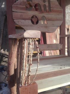 Chair made with pallet wood, mango branches and date palm spikelets.