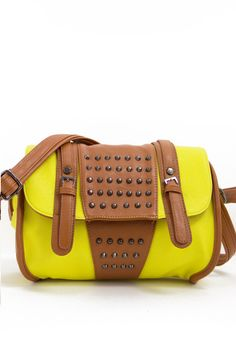 STUDDED YELLOW BAG - brown contrast